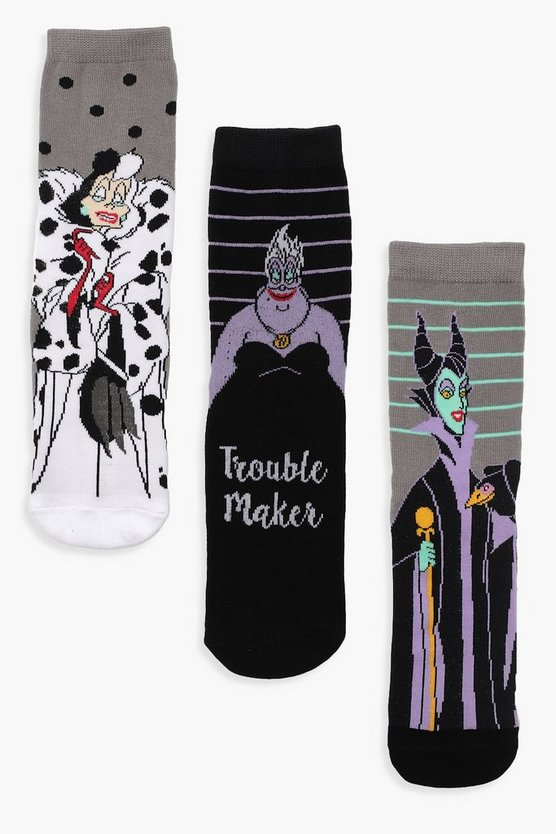 Disney Villain 3 Pck Ankle Socks
