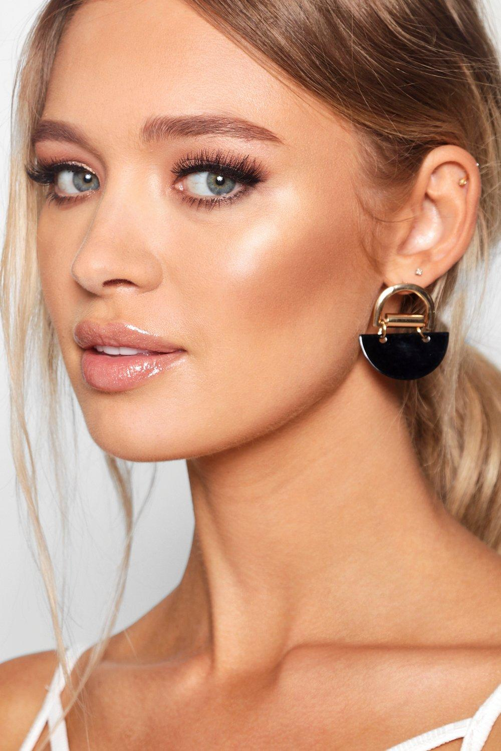 4405cb179512cd Gold Contrast Geo Earrings. Hover to zoom