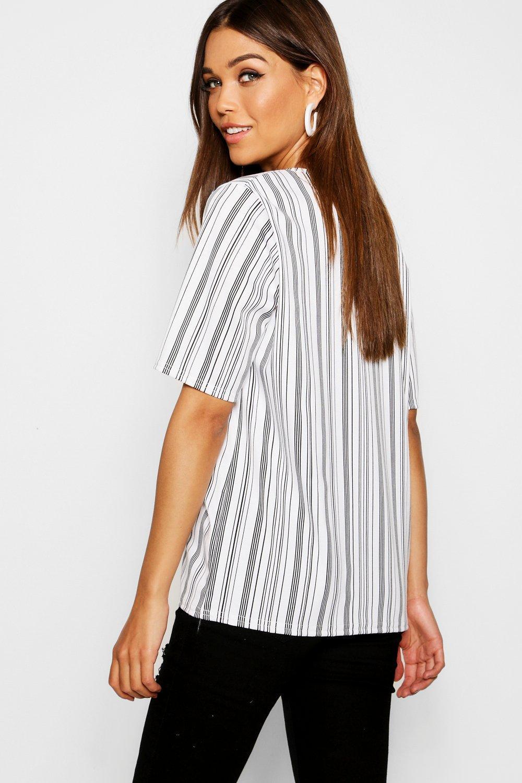 pronunciado a muy escote blanco con rayas Camiseta xF7qSwWaP7