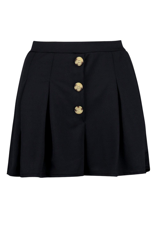 Shorts ondulados con plisados negro de botones rectos cuerno B7qB8w