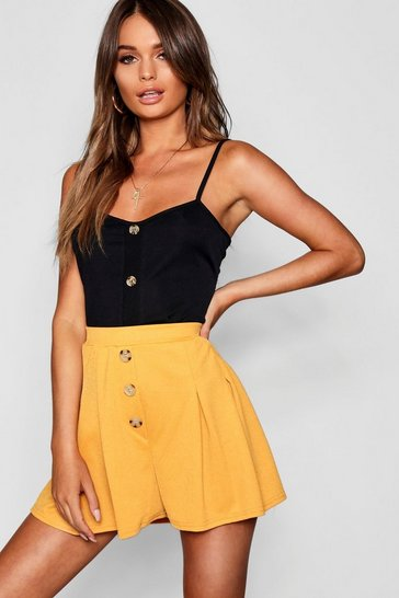 Womens Mustard Horn Button Box Pleat Flippy Shorts