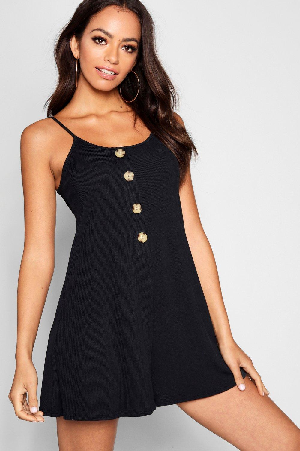 Rib Tie Shoulder Horn Button Swing Playsuit