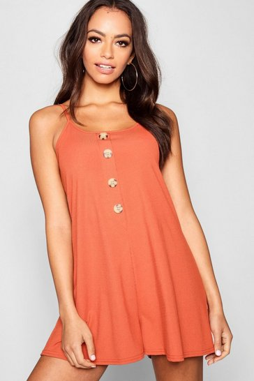 Womens Terracotta Ribbed Tie Shoulder Horn Button Swing Playsuit