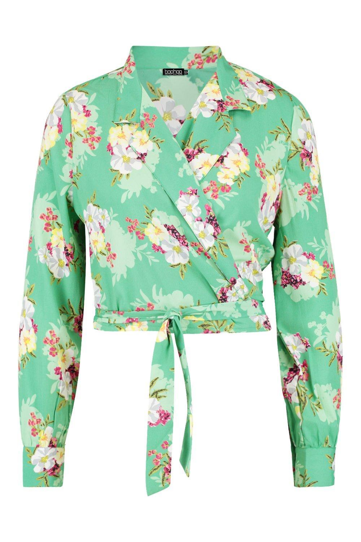 solapa Top cruzado floral estampado con corto cuello tipo verde y BTT5WXn