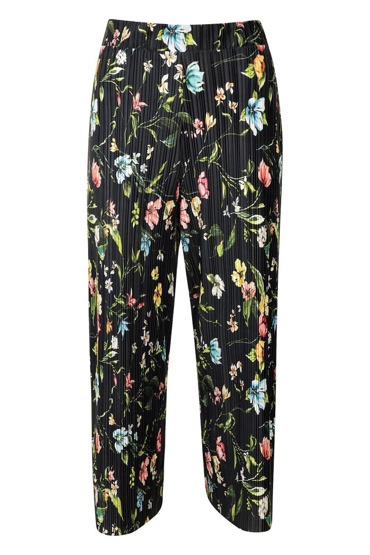 negro florales plisados plisados Culottes Culottes 4H77x0