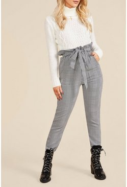 Womens Black Woven Mono Check Paperbag Slim Fit Trousers