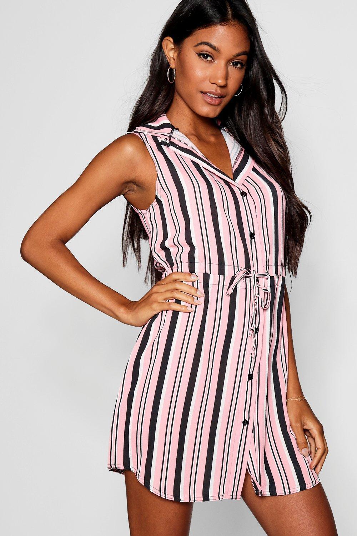 5e75bffc8707c3 Striped Tie Waist Woven Shirt Dress | Boohoo