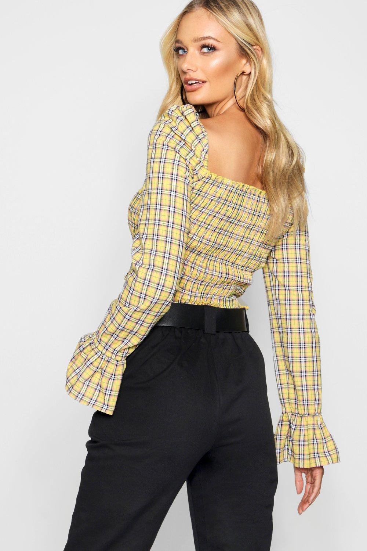corto y a manga con volantes amarillo con translúcidos larga cuadros Top hombros qRwdCq