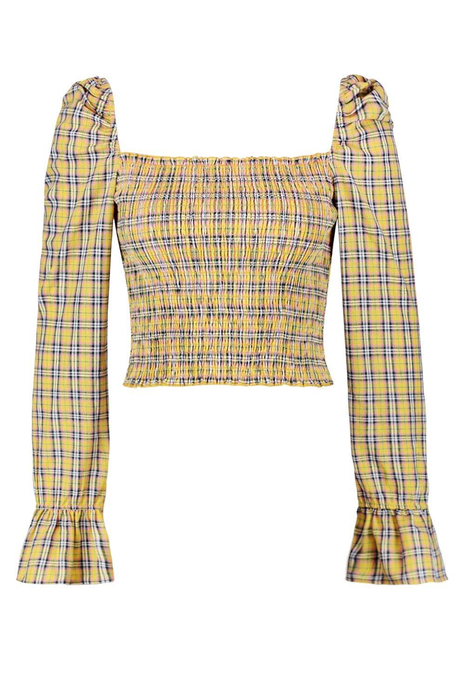 cuadros con y translúcidos a hombros con manga volantes corto larga Top amarillo qEtxSS