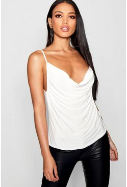 Womens Ivory Slinky Soft Touch Cowl Neck Cami