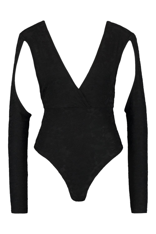 escote negro de Body pronunciado calado con larga manga R74zgqP