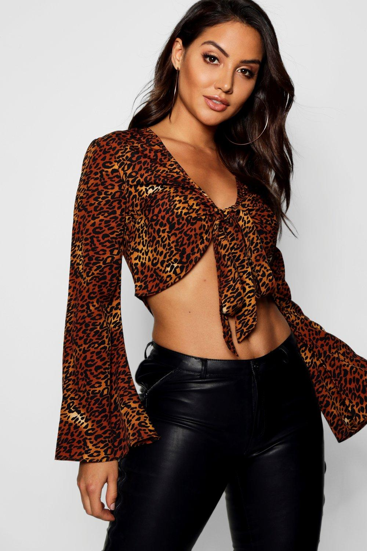 tostado y por con de corto Top nudo tejido delante estampado marrón leopardo 4wPHnqaOx