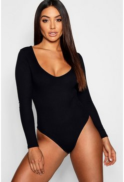 Womens Black Basic Rib Plunge Long Sleeve Bodysuit