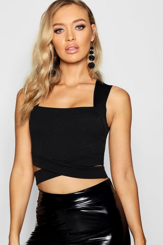 Womens Black Square Neck Cut Out Bralet
