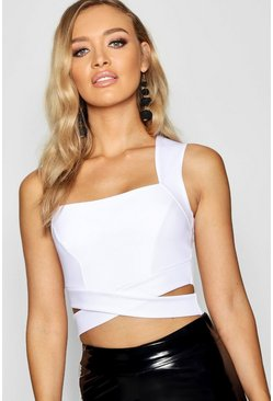 Womens White Square Neck Cut Out Bralet
