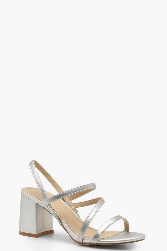 Womens Silver Asymmetric Block Heel Sandals