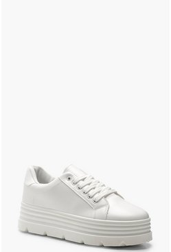 Womens White Cleated Platform Sneakers