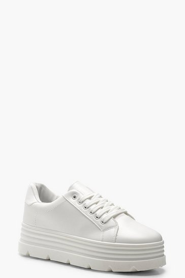 Womens White Cleated Platform Trainers