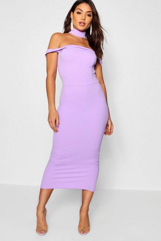 Tassel Detail Bardot Midi Dress