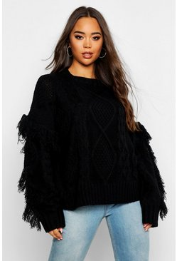 Womens Black Cable Fringe Knit Jumper