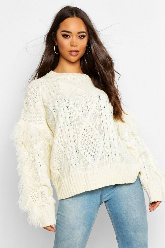 Cream Cable Fringe Knit Jumper