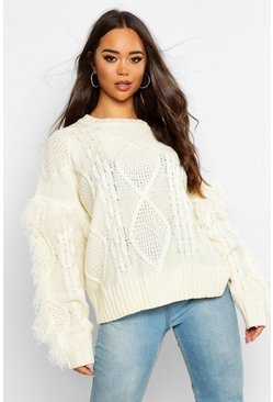 Womens Cream Cable Fringe Knit Jumper