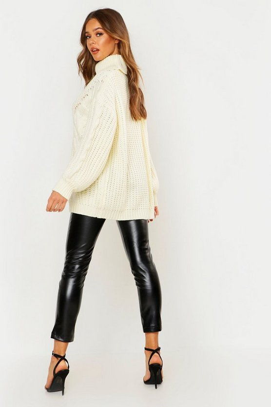 Roll neck Oversized Cable Knit Jumper