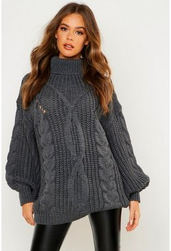 Womens Charcoal Roll neck Oversized Cable Knit Jumper