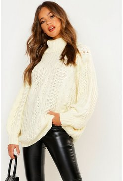 Womens Cream Roll neck Oversized Cable Knit Jumper