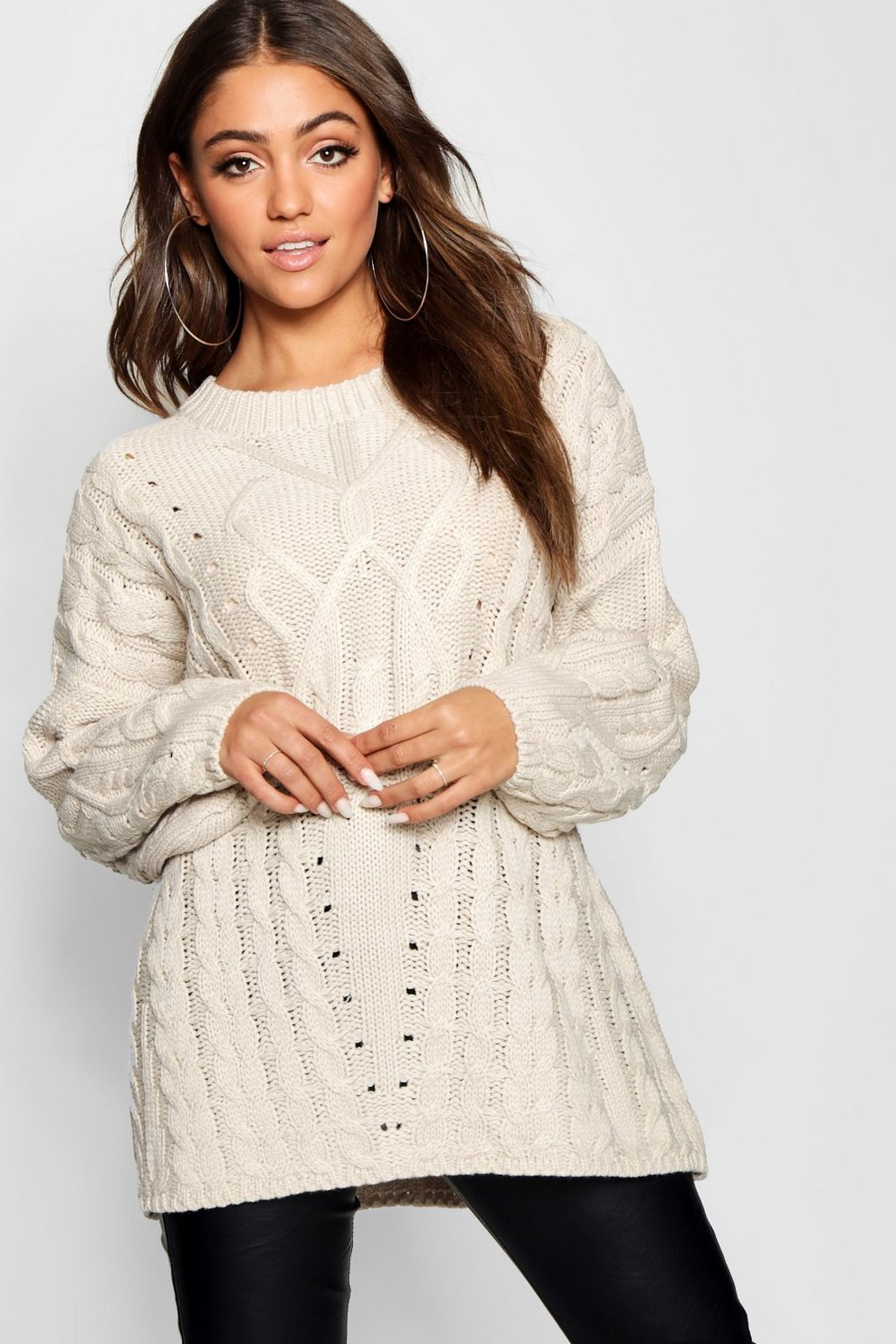 6f3d529ff6470 Womens Cream Oversized Cable Knit Balloon Sleeve Jumper