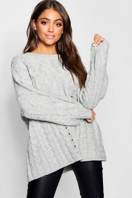 Oversized Cable Knit Balloon Sleeve Jumper