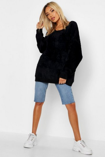 Black Premium Oversized Feather Knit