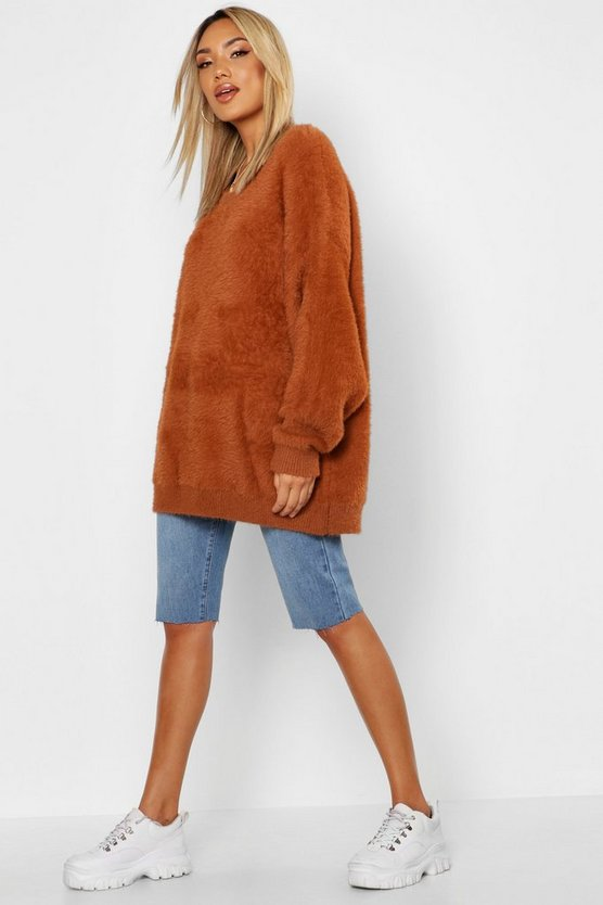 Womens Tobacco Premium Oversized Feather Knit