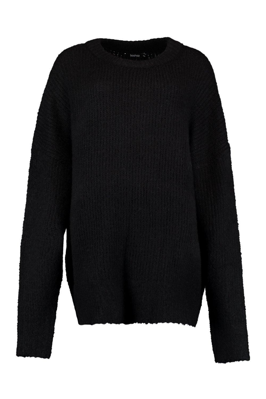 punto estilo en Jersey canalé negro ancho boyfriend de x84IwIAvq