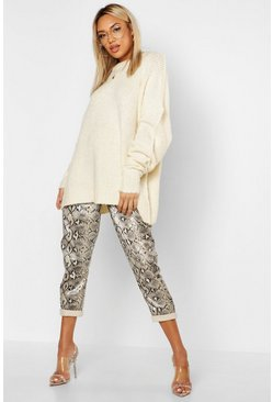Womens Cream Oversized Rib Knit Boyfriend Jumper