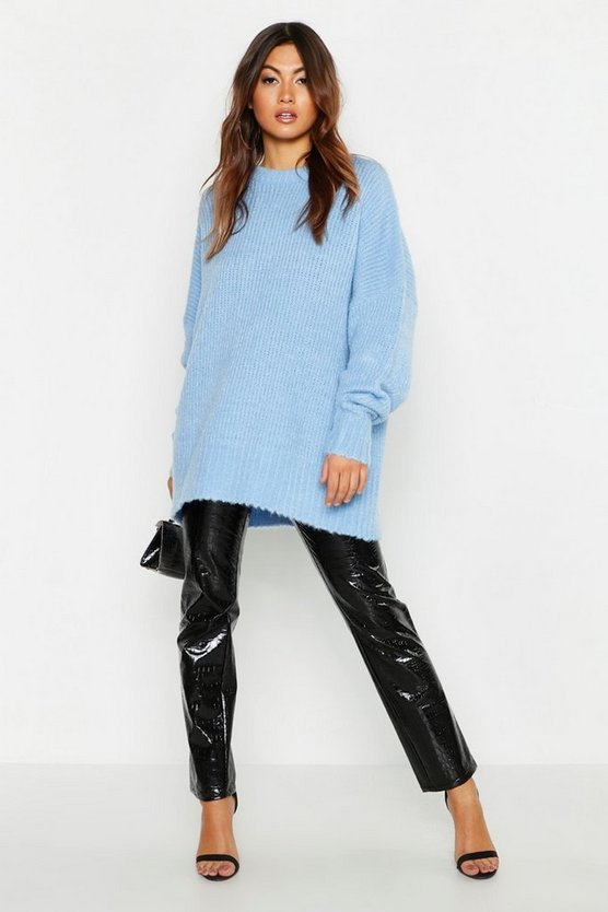 Womens Denim-blue Oversized Rib Knit Boyfriend Jumper