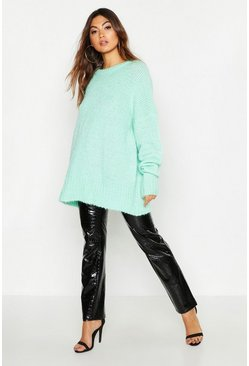 Womens Sage Oversized Rib Knit Boyfriend Jumper