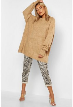 Sand Oversized Rib Knit Boyfriend Sweater
