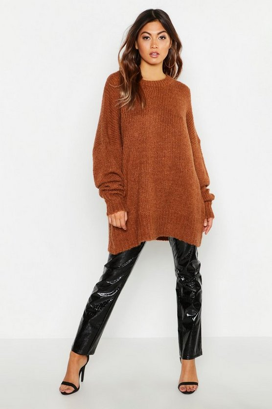 Womens Terracotta Oversized Rib Knit Boyfriend Jumper
