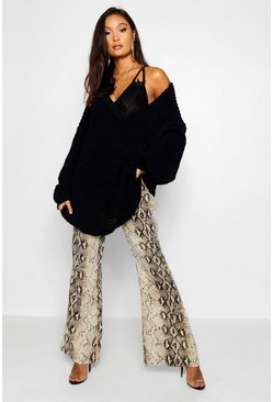 Womens Black Oversized Chenille Boyfriend Sweater