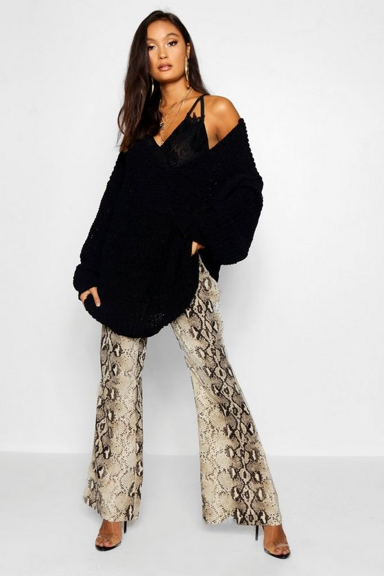 Womens Black Oversized Chenille Boyfriend Jumper