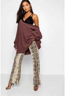 Womens Chocolate Oversized Chenille Boyfriend Jumper