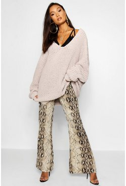 Womens Mink Oversized Chenille Boyfriend Sweater
