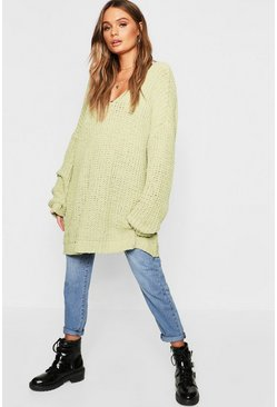 Womens Sage Oversized Chenille Boyfriend Sweater