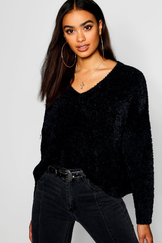 Oversized V-Neck Boxy Crop Fluffy Knitted Jumper