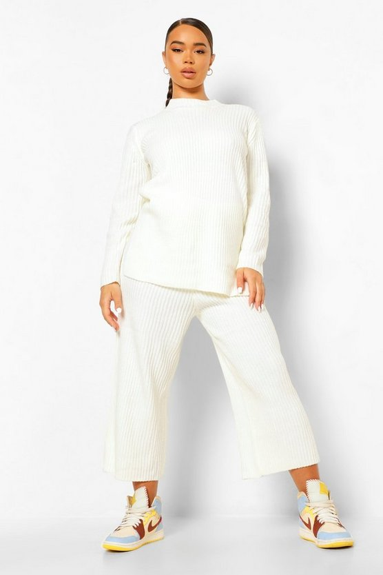 Premium Knitted Rib Turtle Neck Set by Boohoo