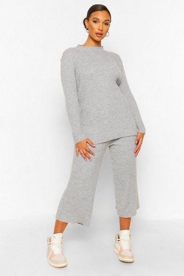 Womens Silver Premium Knitted Rib Turtle Neck Set