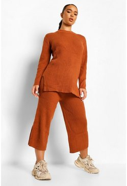 Womens Tobacco Premium Knitted Rib Turtle Neck Set