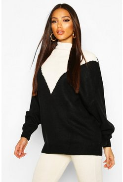 Black Oversized Boyfriend Balloon Sleeve Sweater