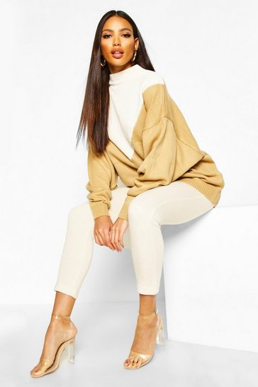 Camel Oversized Boyfriend Balloon Sleeve Jumper